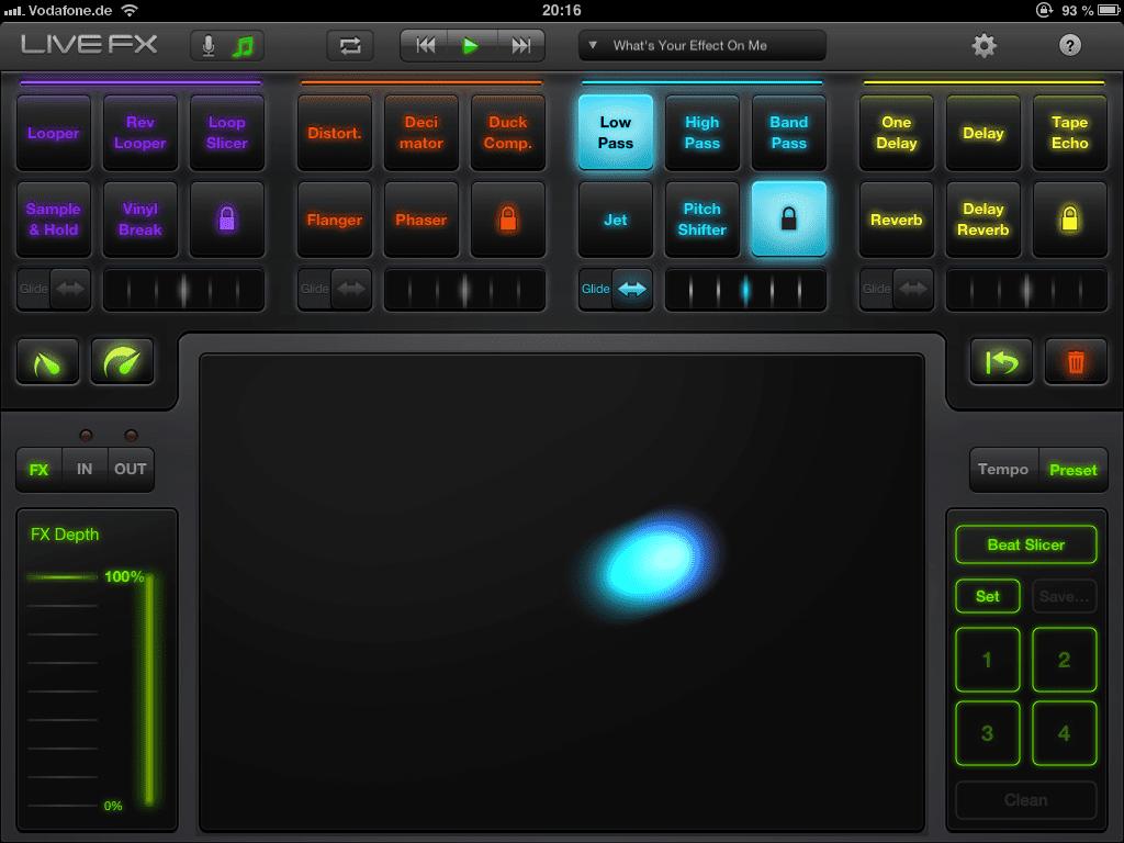 iPad App: Live FX von Elephantcandy - DJ Effekte für das iPadiPad App: Live FX by Elephantcandy