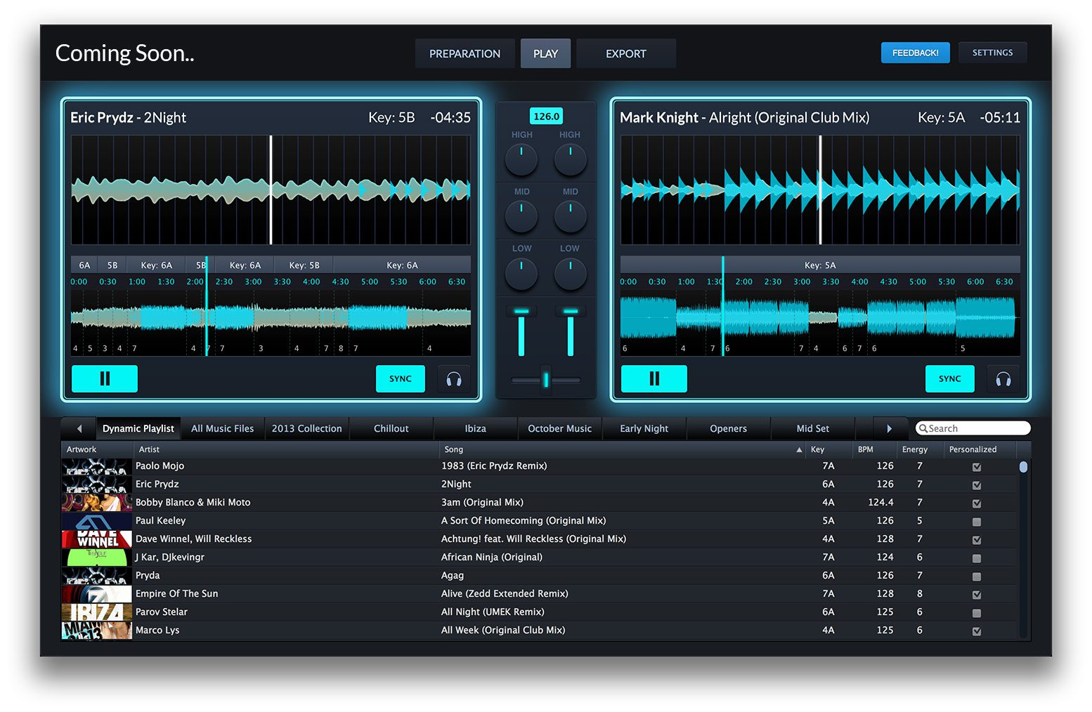 Mixed in Key DJ-Software Deck-Play Screen