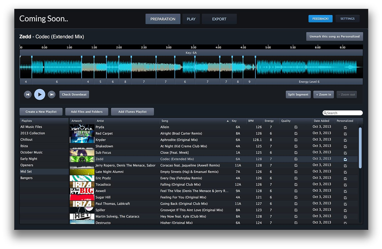 Mixed inKey DJ-Software Preparation Screen