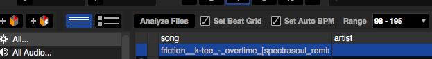 """""""Set Beatgrid"""" aktivieren, damit das Beatgrid automatisch während der Analyse gesetzt wird."""
