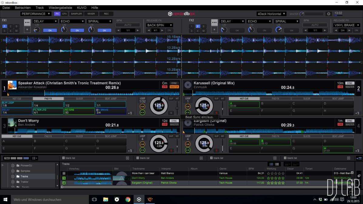 Rekordbox DJ - mit bis zu vier Decks