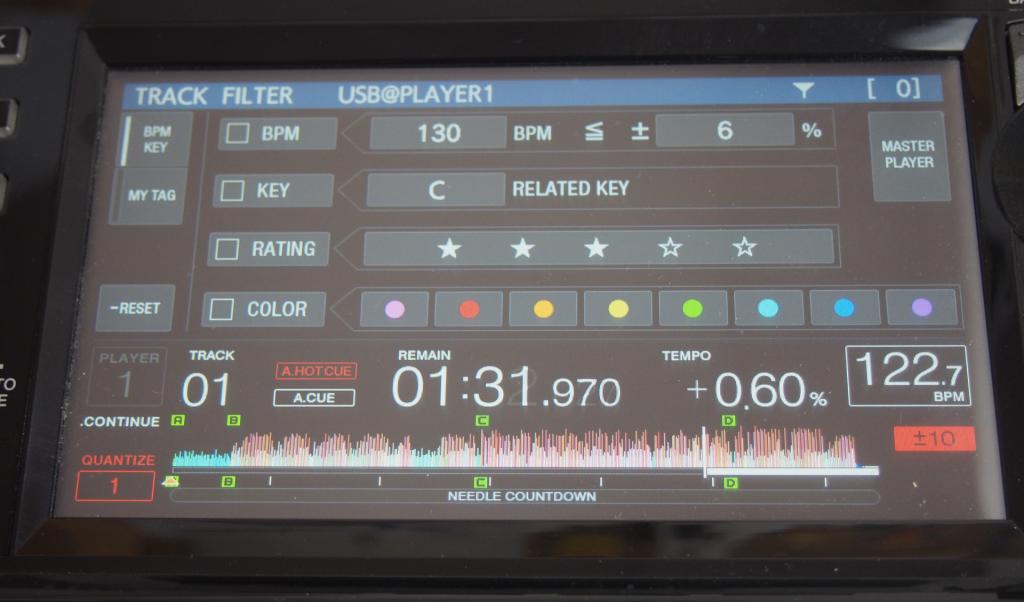 Pioneer CDJ-2000 NXS2 Track Filter Display