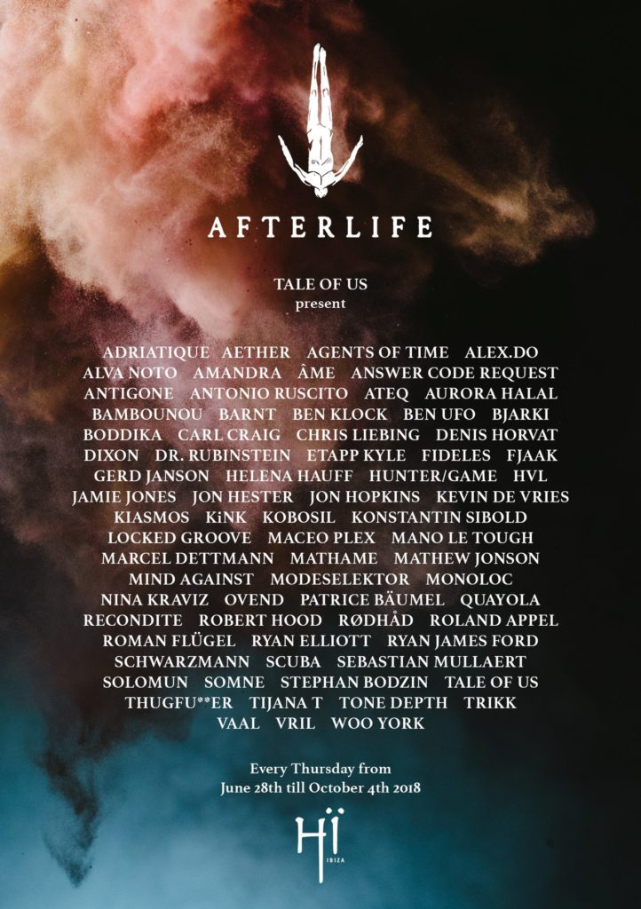 Line-Up des Afterlife Ibiza Events.