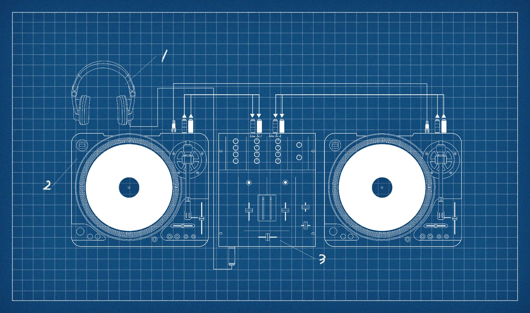 Ein Setup aus Plattenspieler, Mixer und Kopfhörer.