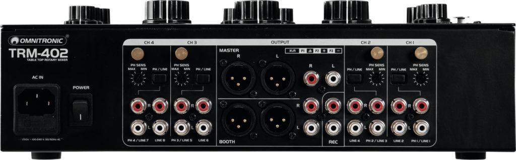 Omnitronic TRM-402 Mixer Rückansicht.
