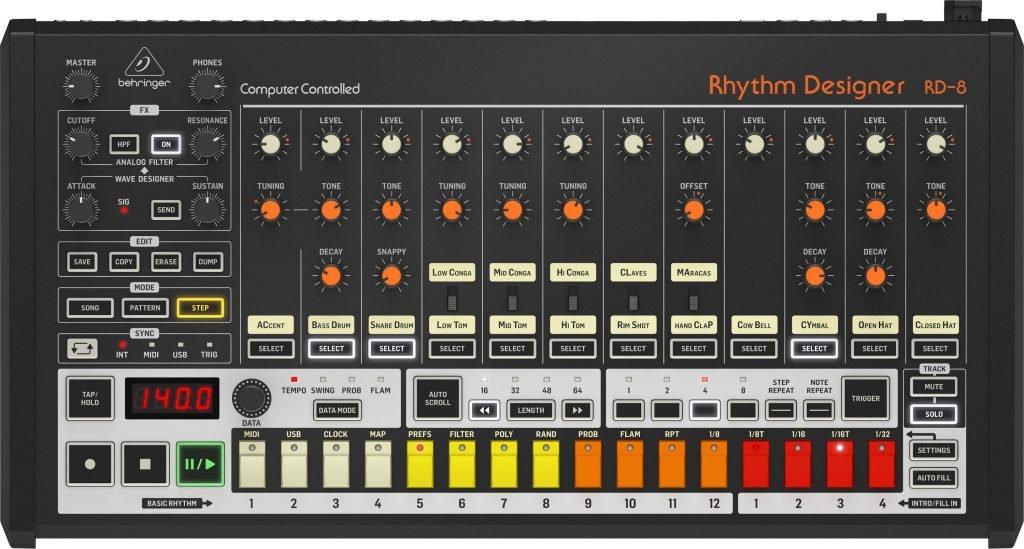 Analoge Drum Machine: Behringer RD-8.