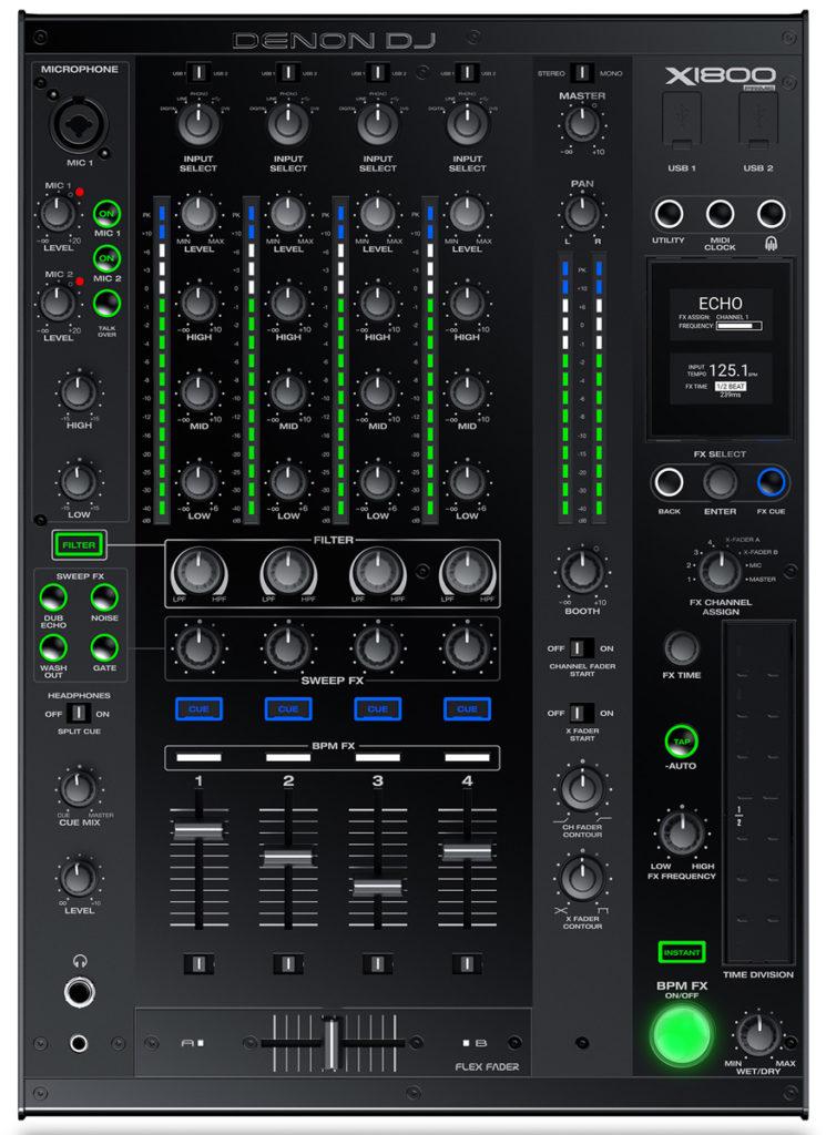X1800 Prime DJ-Mixer von Denon DJ.