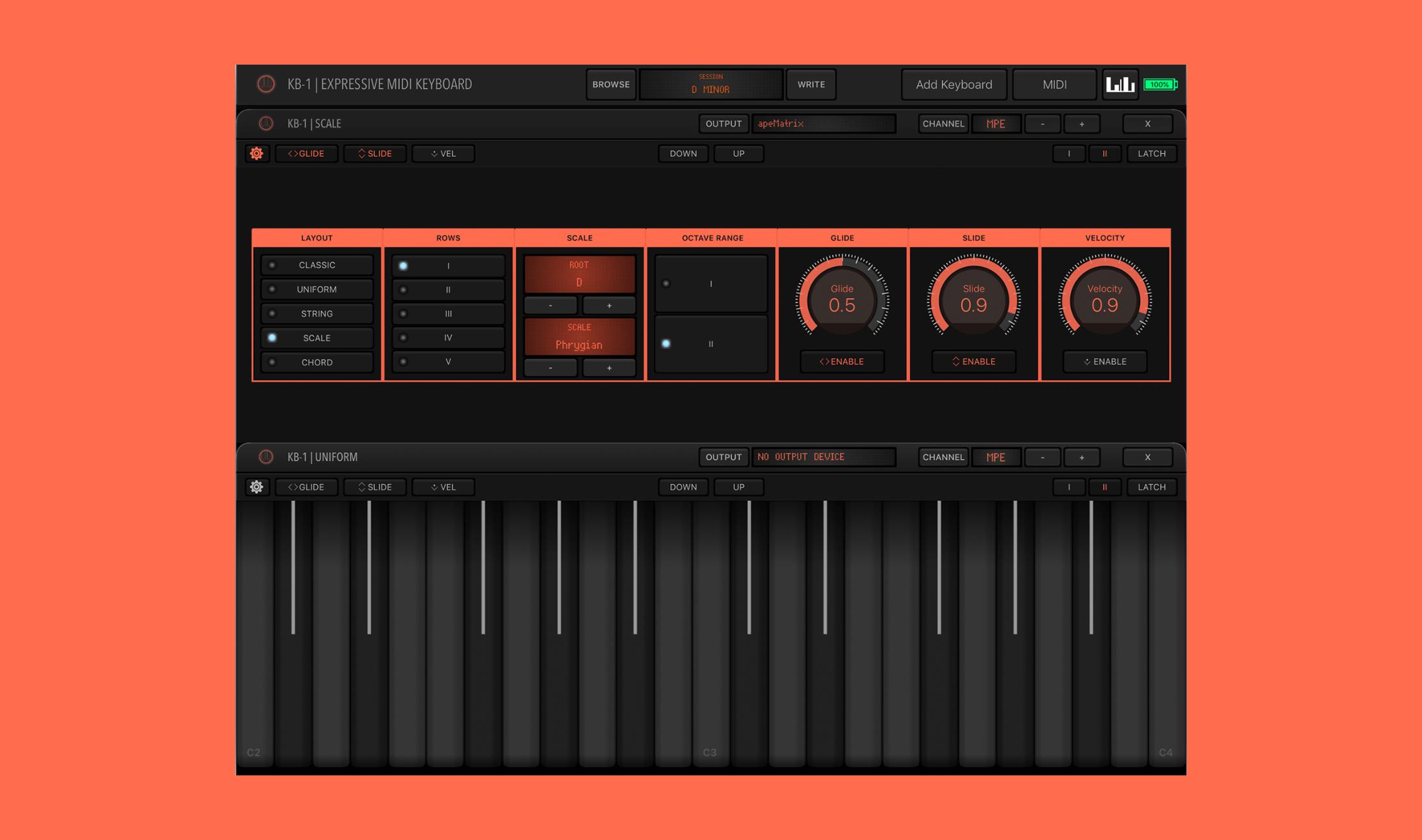 KB-1 macht aus iPhone oder iPad ein MPE-fähiges MIDI Keyboard