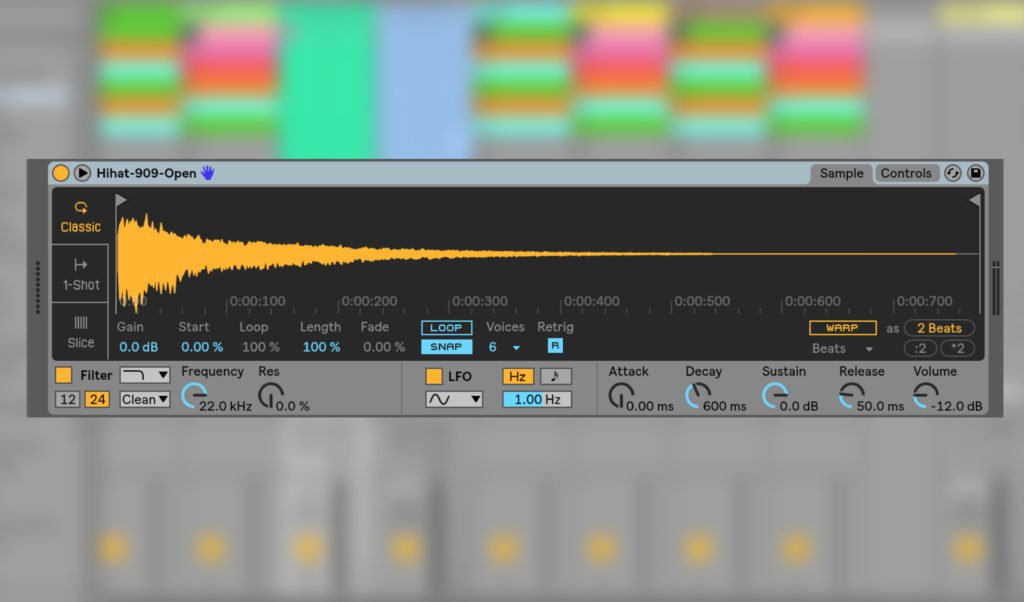 Ableton Simpler mit 909-Sample.