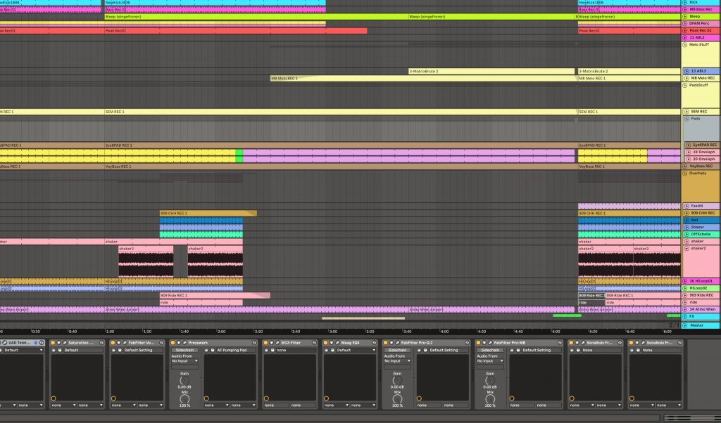 Sortiertes Arrangement in Ableton 10.
