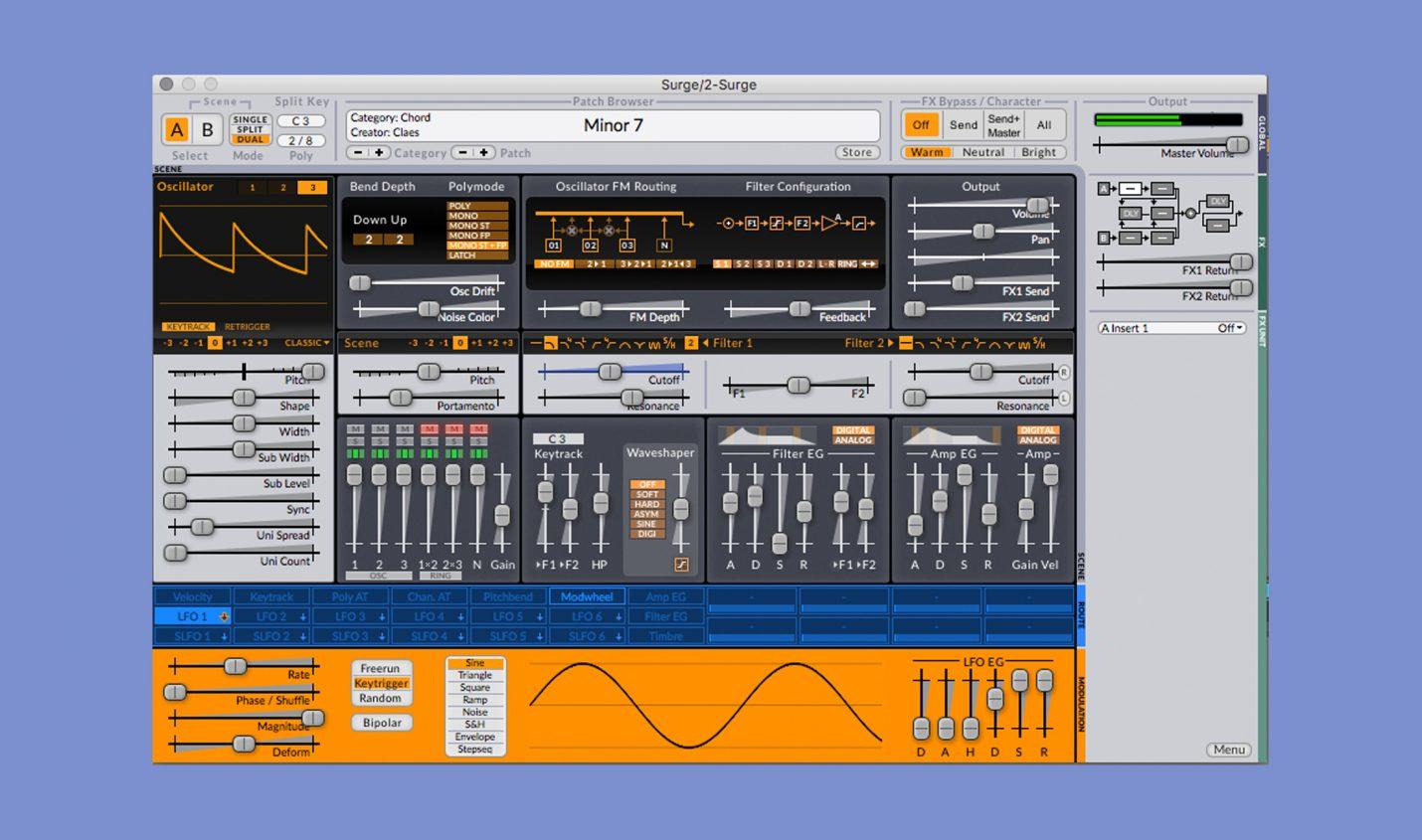 Surge Synthesizer ist kostenlos für macOS, Windows und Linux erhältlich
