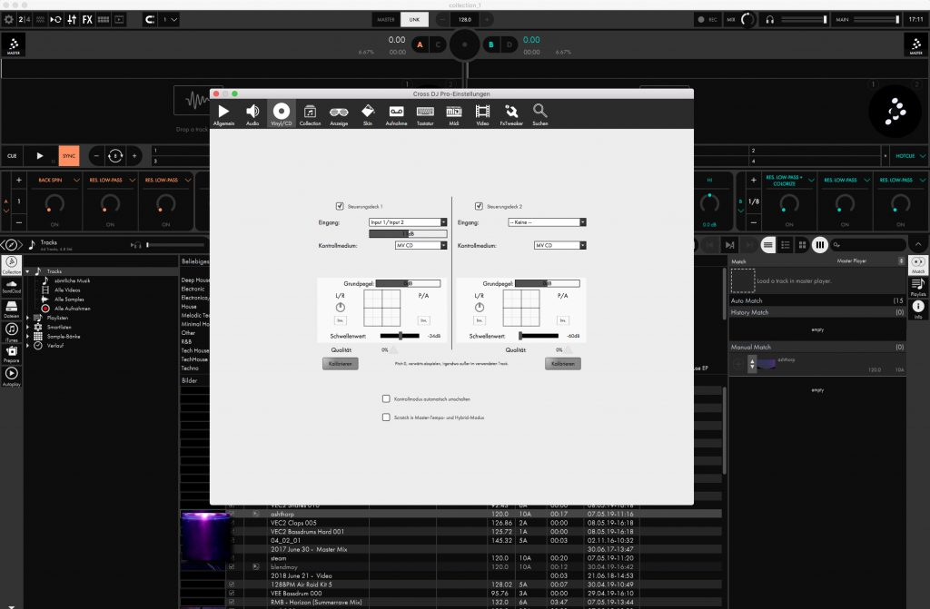 Screenshot Timecode-Menü.