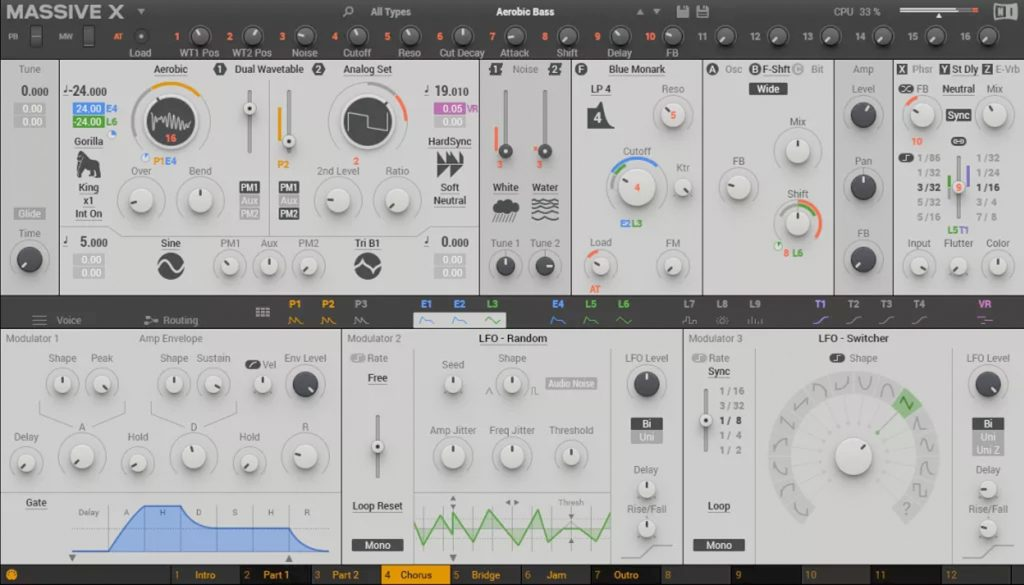 Der Software-Synthesizer Massive X von Native Instruments.