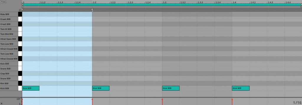 Viertel-Kick in Ableton Live.