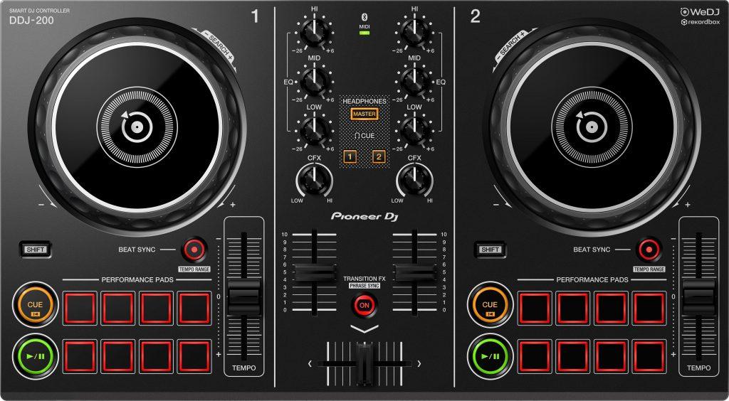 Der DDJ-200 DJ-Controller von Pioneer DJ von oben.