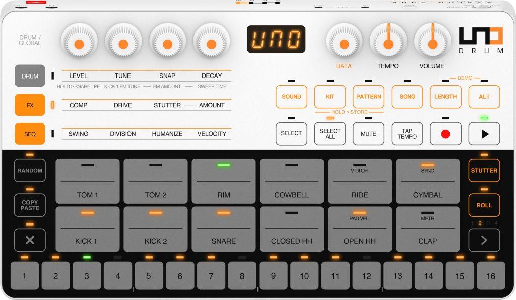 Der UNO Drum von IK Multimedia in der Frontansicht.