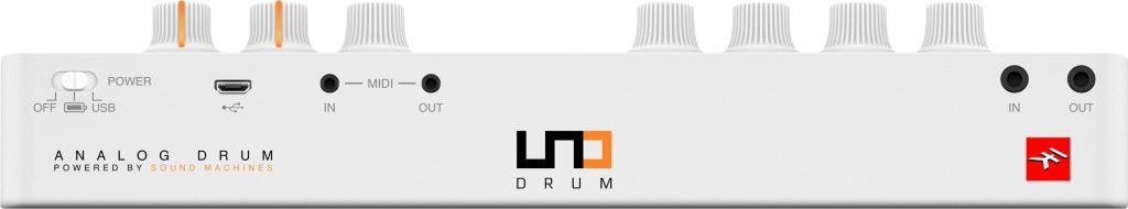 Die Anschlüsse des UNO Drum von IK Multimedia.