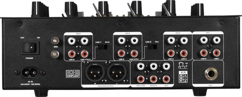 Omnitronic P-M422 P Mixer Anschlüsse.