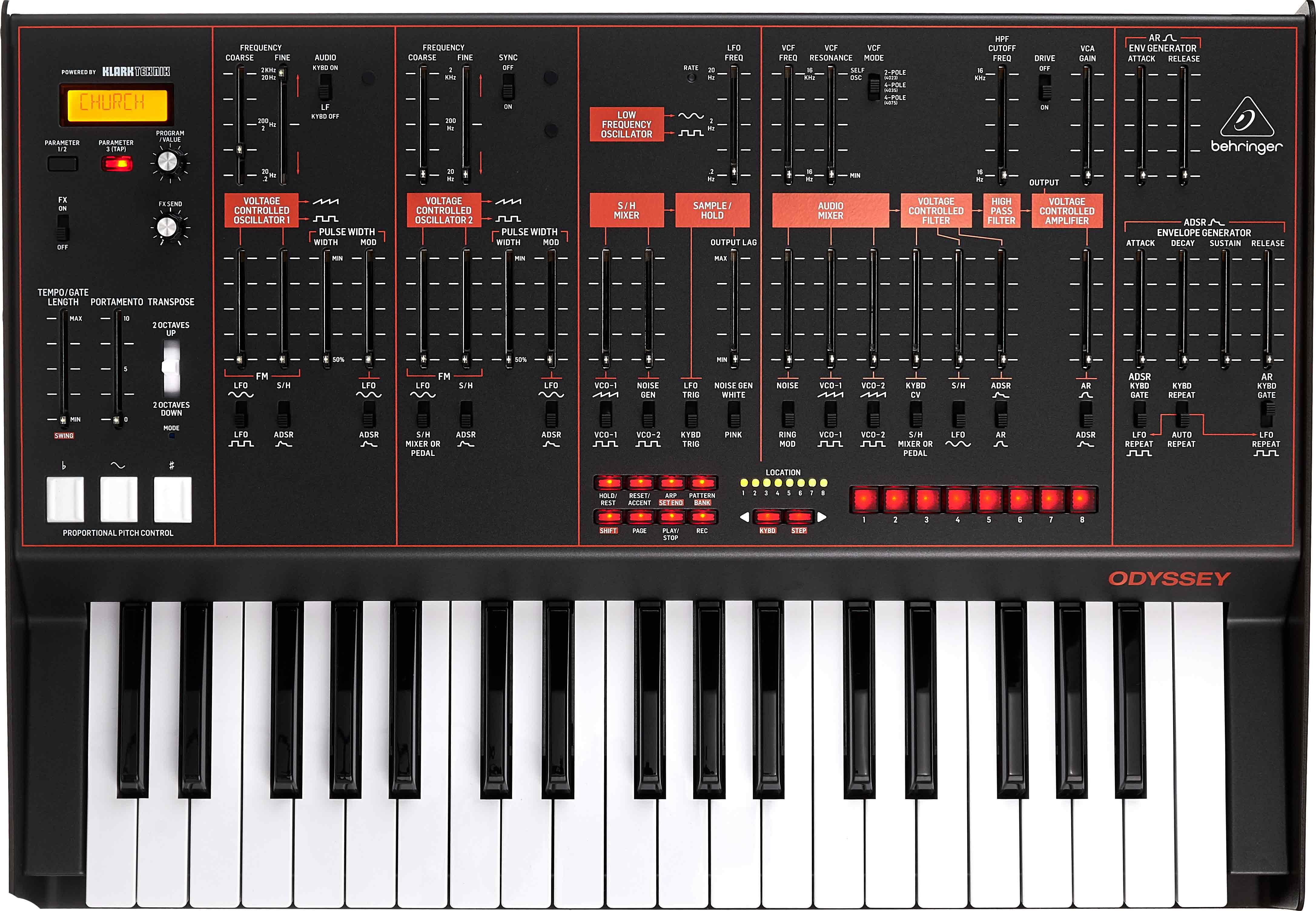 Der Behringer Odyssey Synthesizer von oben.