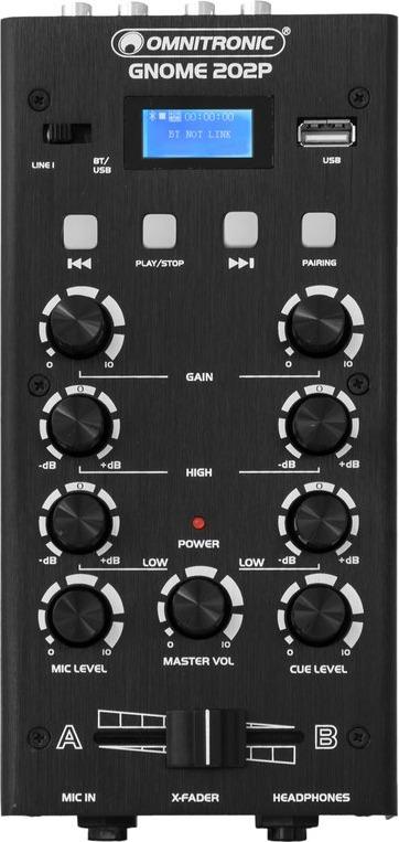 Der Gnome 202P Mixer von Omnitronic von oben..