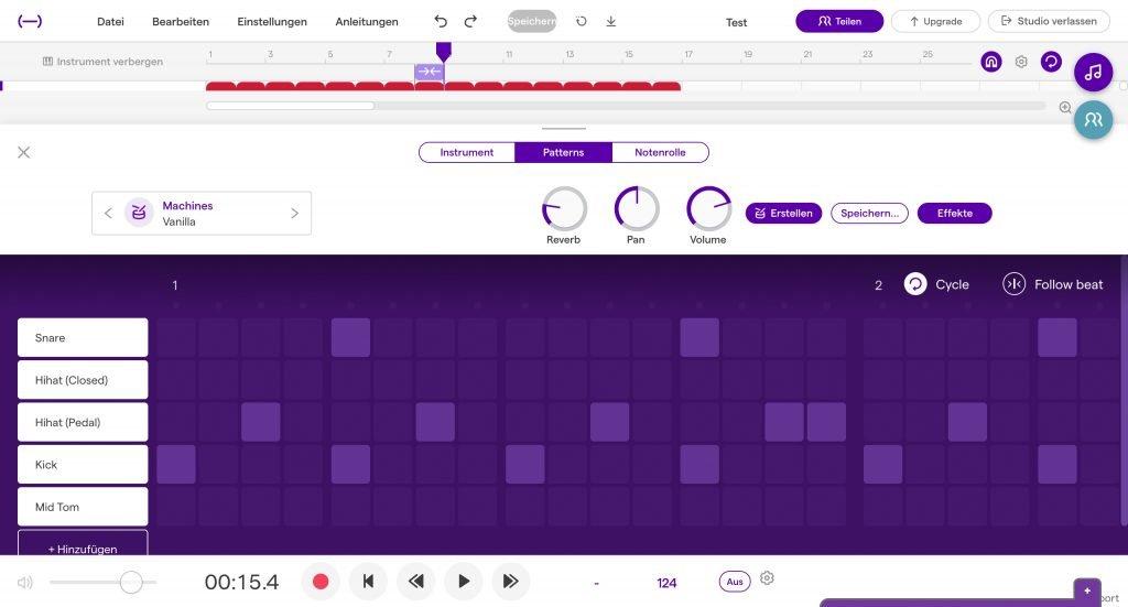 Sequencer der Soundtrap Browser und Cloud DAW im Test.