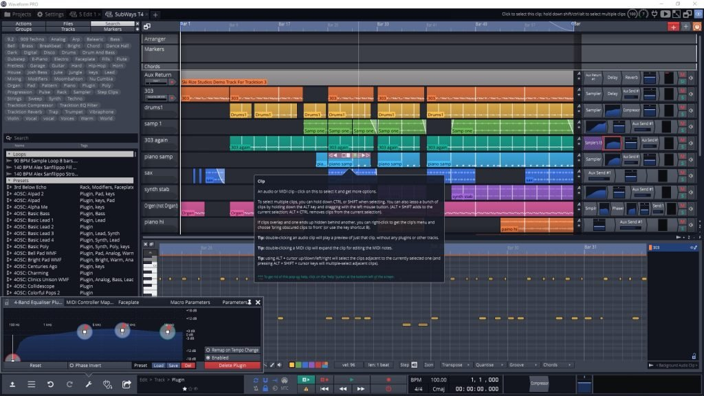 Tracktion Waveform 11 GUI.