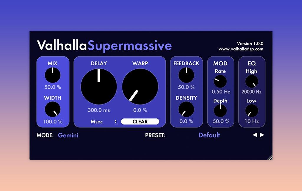 Kostenloser Reverb: Valhalla Supermassive.
