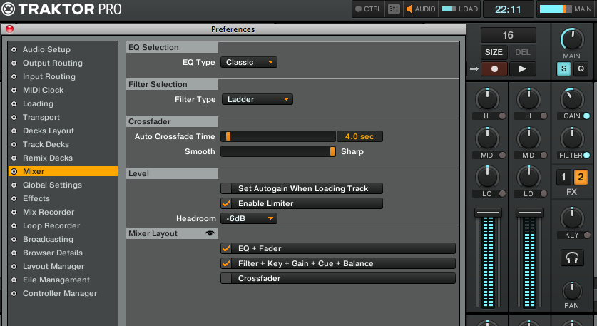 Traktor Pro Preferences: Autogain, Limiter, Headroom