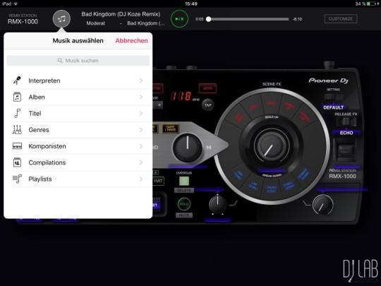 Pioneer RMX-1000 for iPad - Tracks aus iTunes bearbeiten