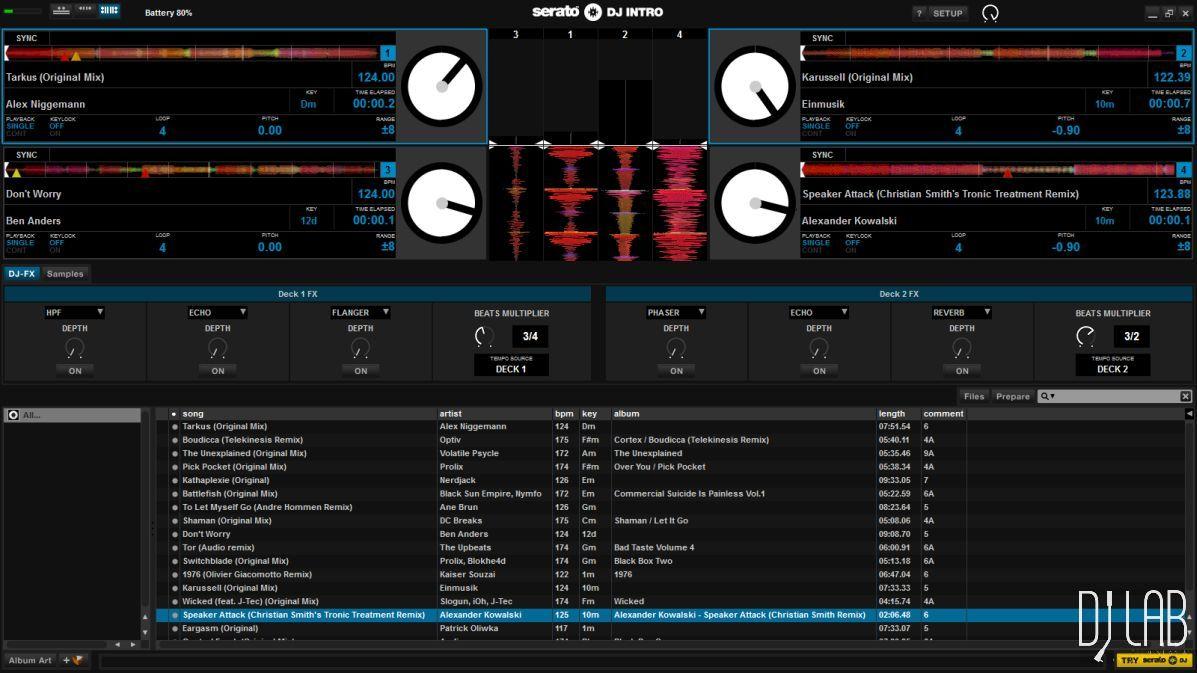 Serato DJ Intro im Vierdeckbetrieb