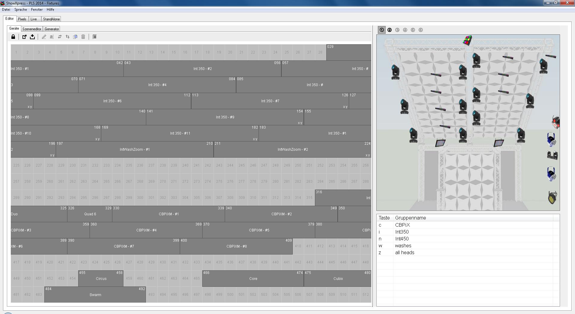 In der Software Showexpress von Chauvet lassen sich Lampen auch über den Computer ansteuern.