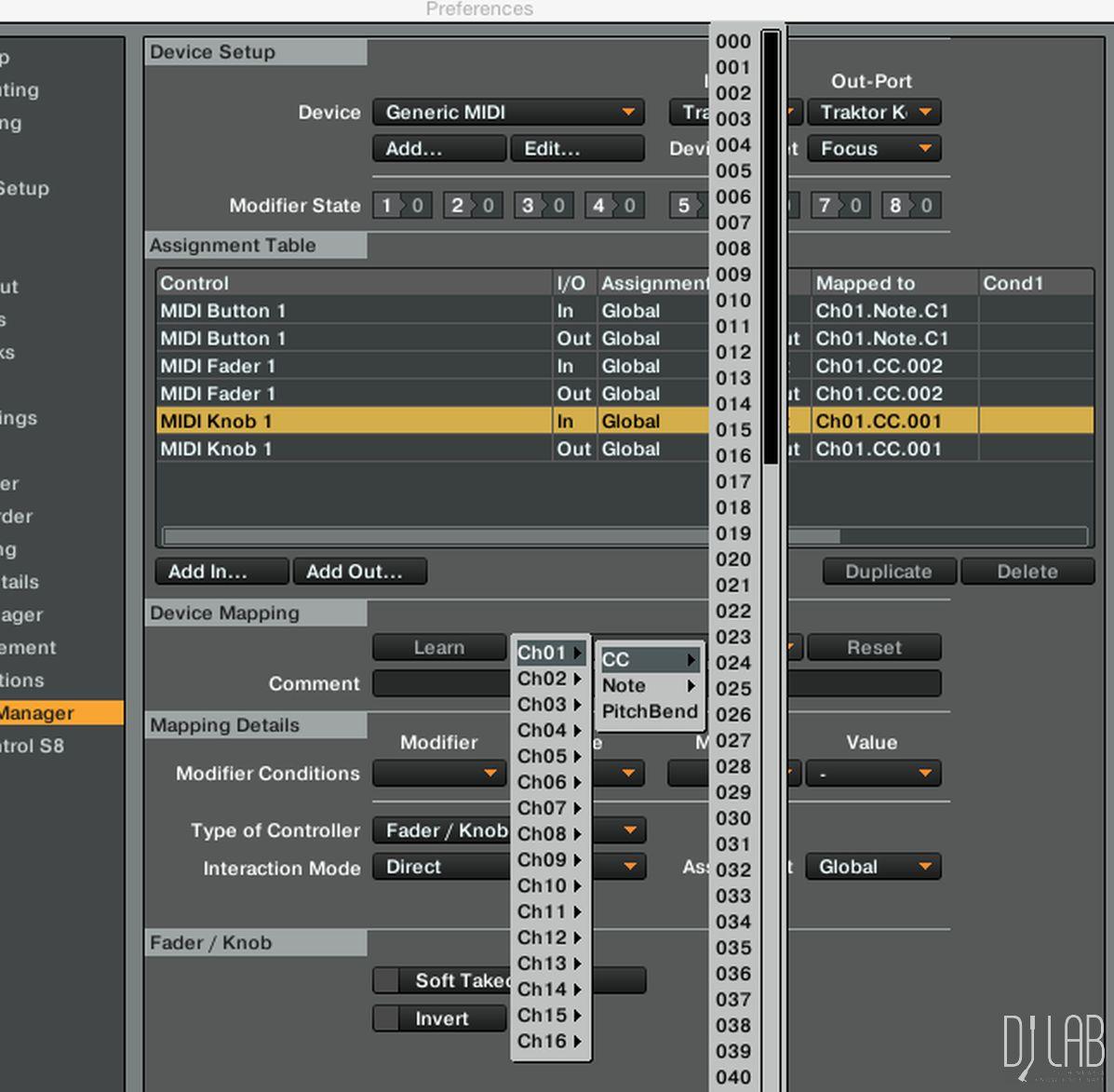 MIDI-Befehl selektieren