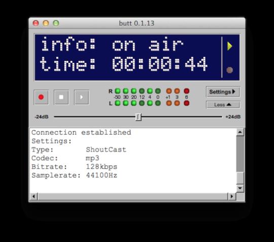 BUTT hilft dabei den Sound aus oder über den Rechner an einen Icecast oder Shoutcast Server zu streamen
