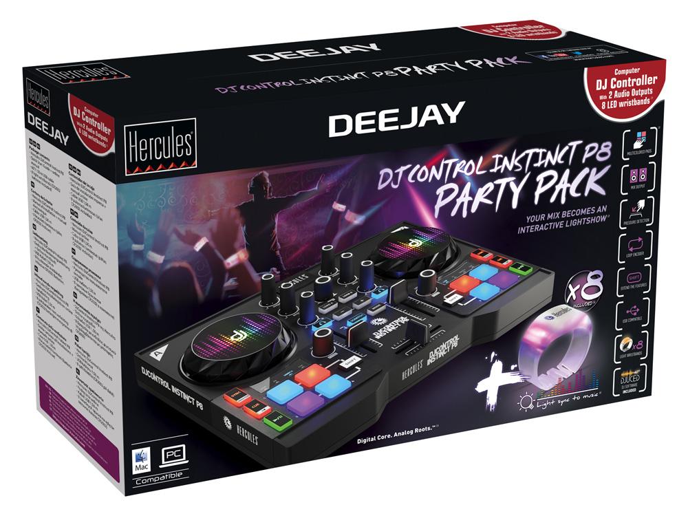 DJControl Instinct P8 Party Pack: der Mix wird zu einer interaktiven Lichtshow! Ausgestattet mit dem neuesten Sprößling der Hercules-Familie, besteht dieses Pack aus dem DJControl Instinct P8, einem robusten all-in-one Mobile-Controller mit 8 mehrfarbigen Pads, eingebauter Soundkarte und den wesentlichen Mix- und Remix-Features, und 8 Licht-Armbändern, die im Takt der Musik leuchten. Dieses System ist extrem einfach zu nutzen: Einfach die Armbänder anschalten und mit dem Rythmus der Musik synchronisieren. Damit wird es farbig auf dem Dancefloor, denn die Armbänder pulsieren in 16 verschiedenen Farben. Dieses innovative und moderne Pack fügt Parties eine neue Dimension der Interaktivität hinzu. DJs können nun ihr Publikum dazu animieren, eine individuelle Athmosphäre zu erschaffen. An Nachhaltigkeit ist durch die auswechselbaren Batterien gedacht worden.